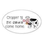 Croppin' Cows Oval Sticker