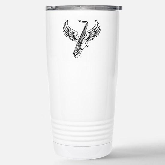 Winged Sax Stainless Steel Travel Mug