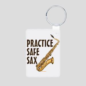 Practice Safe Sax (Tenor) Aluminum Photo Keychain