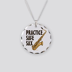 Practice Safe Sax (Tenor) Necklace Circle Charm