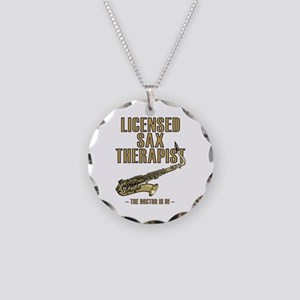 Licensed Sax Therapist Necklace Circle Charm