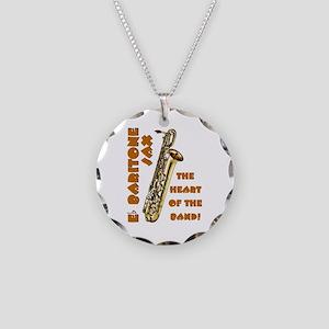 Baritone Sax Necklace Circle Charm