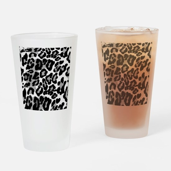 Gray Leopard Pattern Drinking Glass