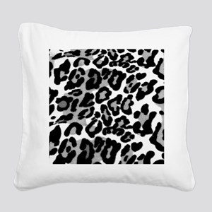 Gray Leopard Pattern Square Canvas Pillow