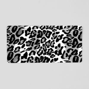 Gray Leopard Pattern Aluminum License Plate
