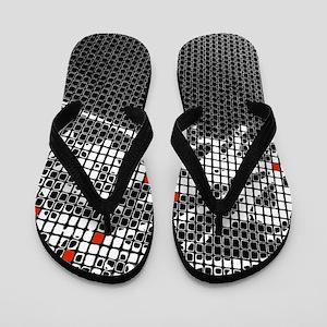 Ten Red Squares Flip Flops