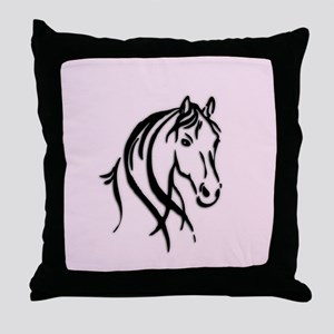 Black Horse Head on Pink Throw Pillow