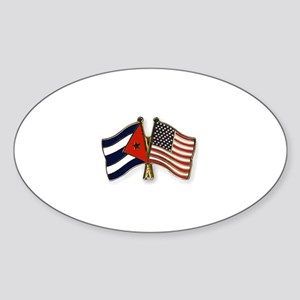 Cuban flag and the U.S. flag Sticker