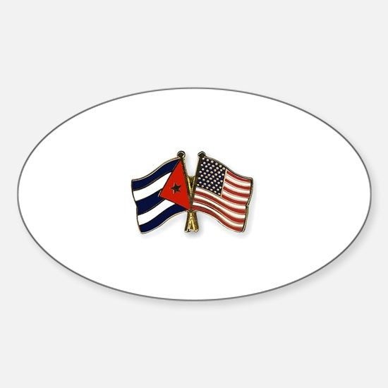 Cuban flag and the U.S. flag Decal