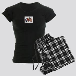 Cuban flag and the U.S. flag Women's Dark Pajamas