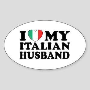 I Love My Italian Husband Oval Sticker
