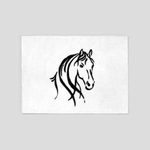 Black Horse 5'x7'Area Rug