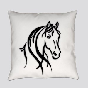 Black Horse Everyday Pillow