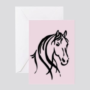 Black Horse Head on Pink Greeting Cards