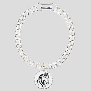 Black Horse Charm Bracelet, One Charm