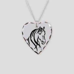 Black Horse Necklace Heart Charm