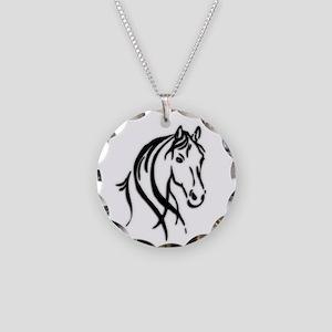 Black Horse Necklace Circle Charm