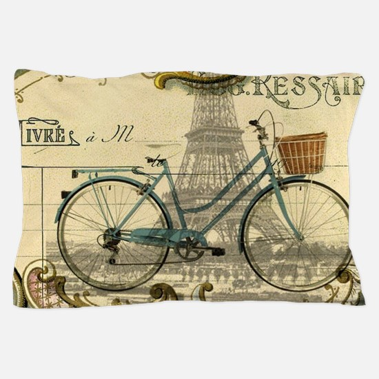 eiffel tower paris bike Pillow Case