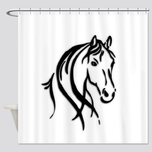 Black Horse Shower Curtain