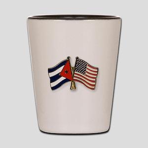 Cuban flag and the U.S. flag Shot Glass