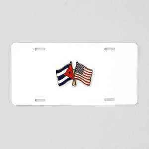 Cuban flag and the U.S. fla Aluminum License Plate