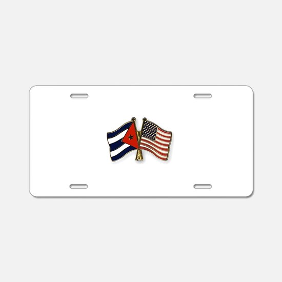 Cuban flag and the U.S. fla Aluminum License Plate
