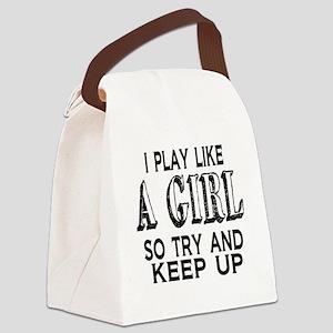 Play Like a Girl Canvas Lunch Bag