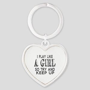 Play Like a Girl Heart Keychain