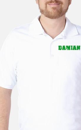 Damian Name Weathered Green Design Golf Shirt