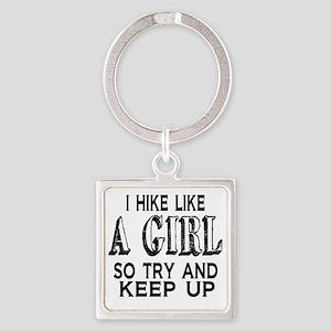 Hike Like a Girl Square Keychain