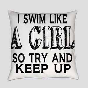 Swim Like a Girl Everyday Pillow