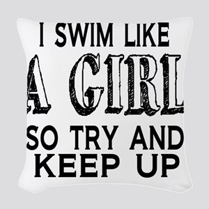 Swim Like a Girl Woven Throw Pillow