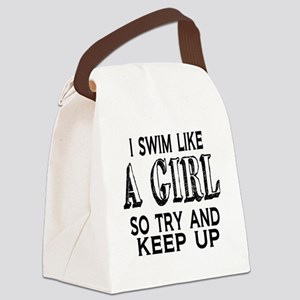 Swim Like a Girl Canvas Lunch Bag