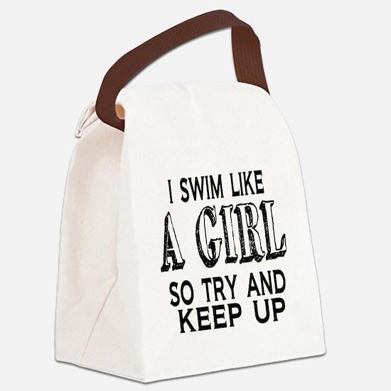Swim Like a Girl Canvas Lunch Bag