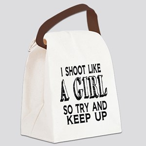 Shoot Like a Girl Canvas Lunch Bag