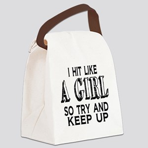 Hit Like a Girl Canvas Lunch Bag