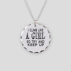 Climb Like a Girl Necklace Circle Charm