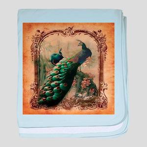 romantic paris vintage peacock baby blanket