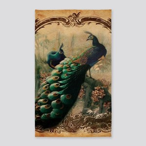 romantic paris vintage peacock Area Rug