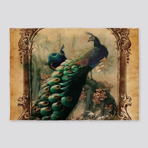 romantic paris vintage peacock 5'x7'Area Rug