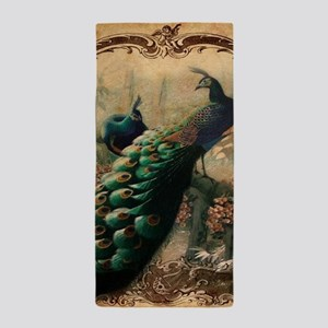 romantic paris vintage peacock Beach Towel