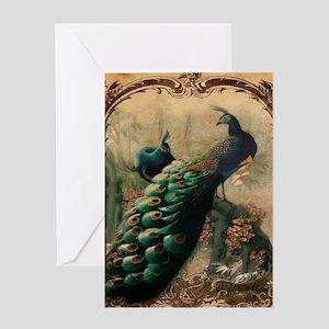 romantic paris vintage peacock Greeting Cards