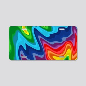 Hipster candy rainbow swirl Aluminum License Plate