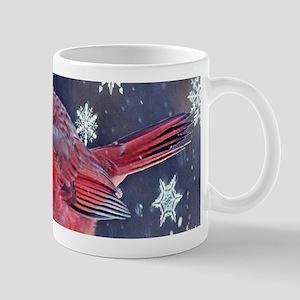 winter snow red cardinal Mugs
