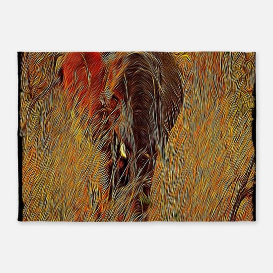 wildlife art african elephant 5'x7'Area Rug