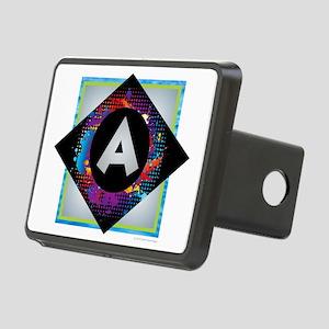 A - Letter A Monogram - Bl Rectangular Hitch Cover