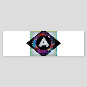 A - Letter A Monogram - Black Diamo Bumper Sticker