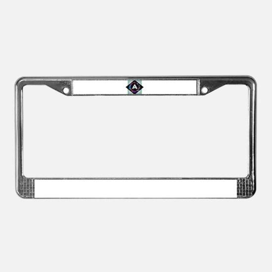A - Letter A Monogram - Black License Plate Frame