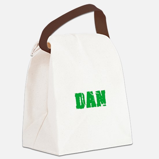 Dan Name Weathered Green Design Canvas Lunch Bag