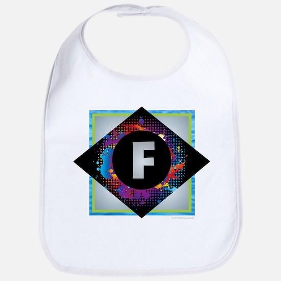 F - Letter F Monogram - Black Diamond F - Lett Bib